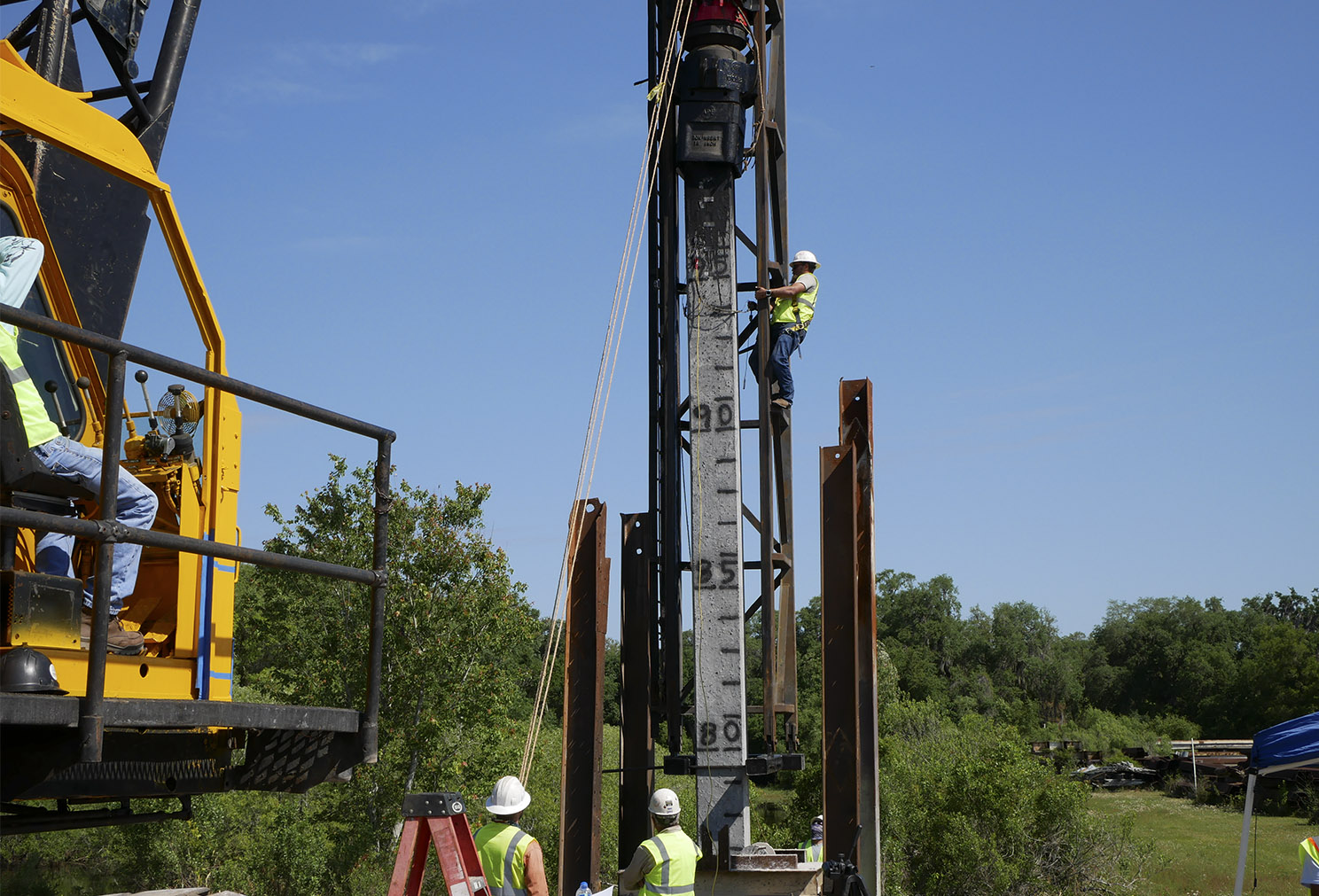 High Performance Concrete Piling Install