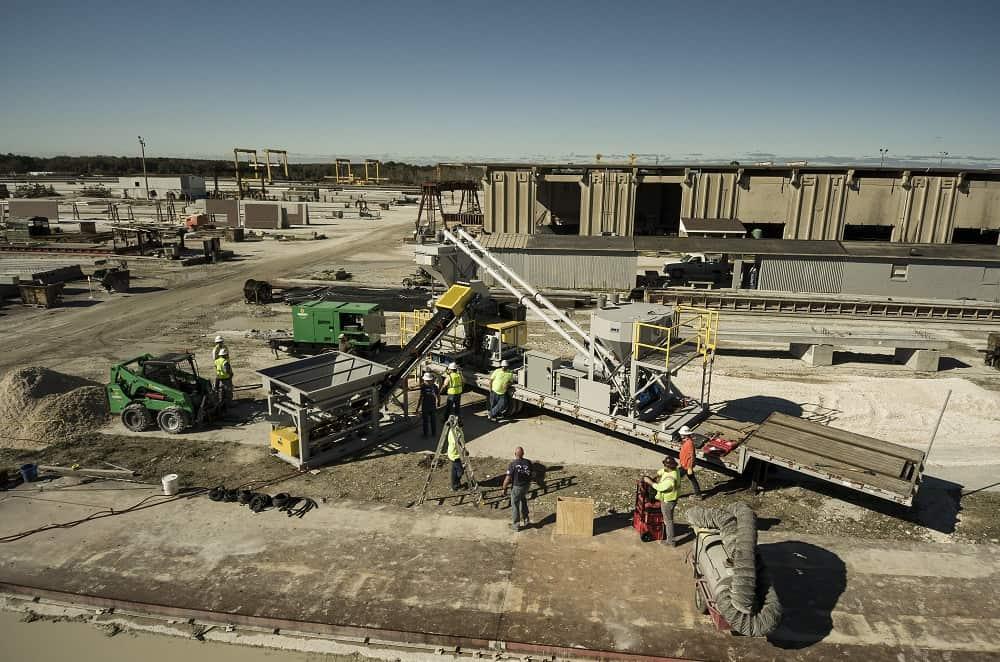 mobile batch plant concrete work