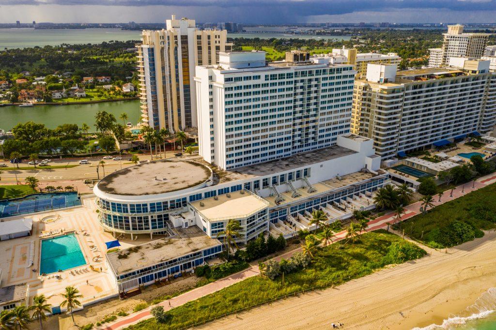 Aerial photo castle Beach Club Miami Beach oceanfront condo hotel